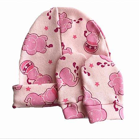 Kit Touca e Luvas Bebê Suedine Elefantinho Circus Pink - Belita Mimos