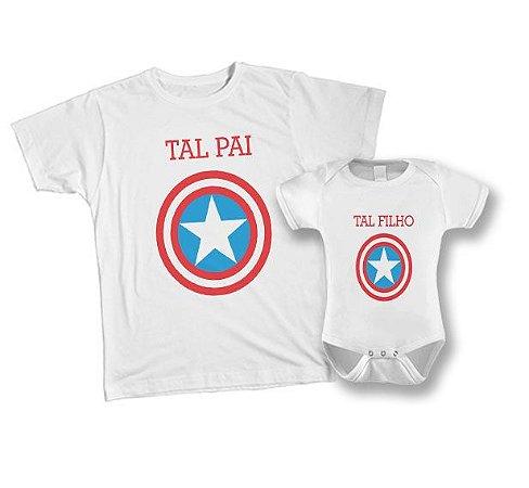 Kit Camiseta e Body - Tal Pai Tal Filho - Capitão América