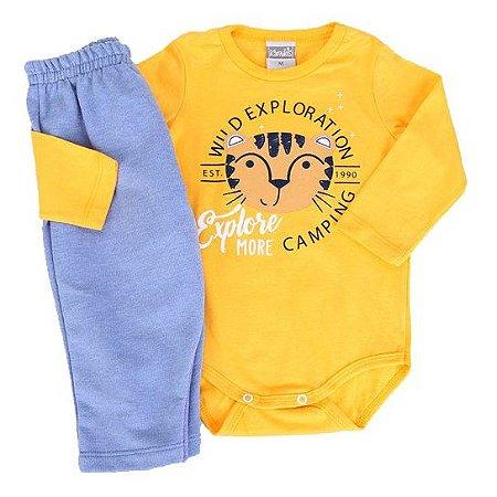 Conjunto Infantil Manga Longa Tigrinho Amarelo - Kamylus