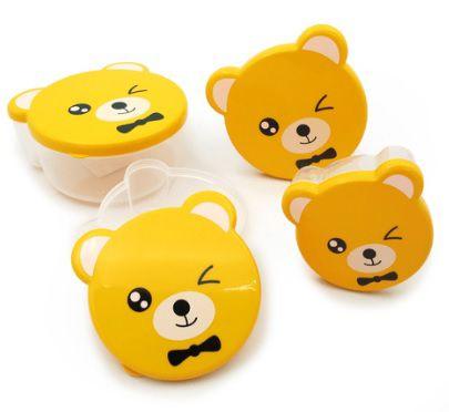 Kit com 4 Potes Multiuso Ursinho Amarelo