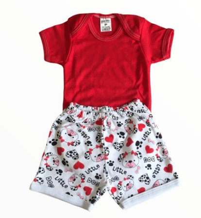 Conjunto Bebê Body e Shorts Little Dog Vermelho
