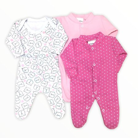 Kit Prematuro 2 Macacões + Body +calça  de Menina - Poá Pink
