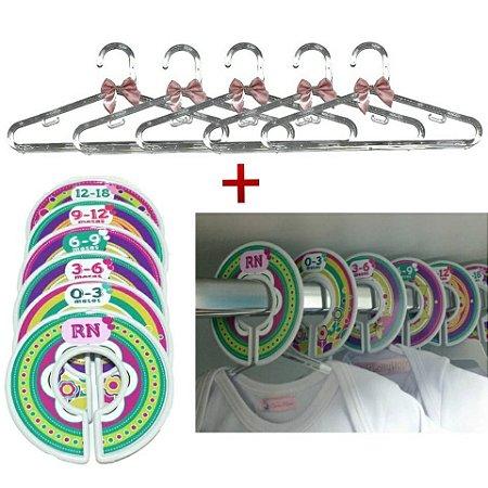 Conjunto de Separadores FLORAL e  Kit de 6 Cabides de acrílico com laço ROSÊ