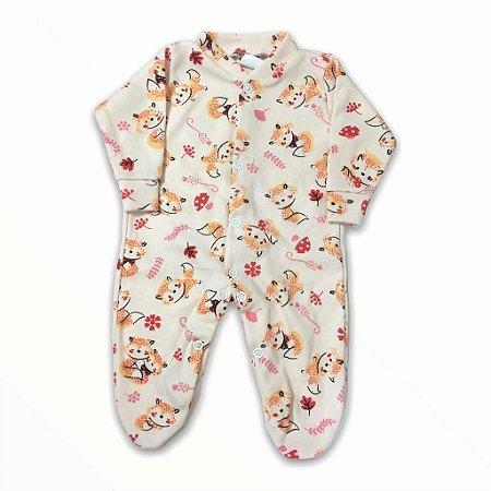 Macacão Bebê Prematuro Suedine Manga Longa - Raposinha