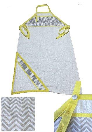 Toalha Avental Mamae/bebe Amarelo/Chevron cinza