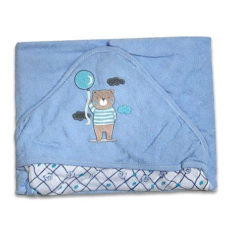 Toalha de Banho com Capuz forrada de Fralda - Ursinho Azul