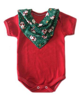 Conjunto de Body Vermelho e Bandana Natal verde
