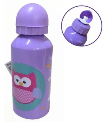 Garrafa Squeeze de Aluminio 400ml- Corujinha Lilás