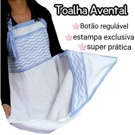 Toalha Avental Mamae/bebe Azul