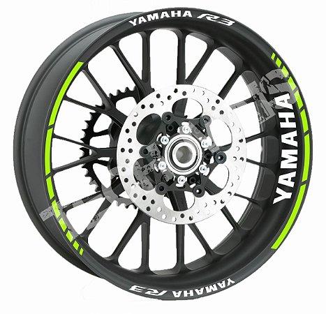 Fita de Roda Friso de Roda Refletivo Yamaha R3 Abstrato + Logo de Borda Interna