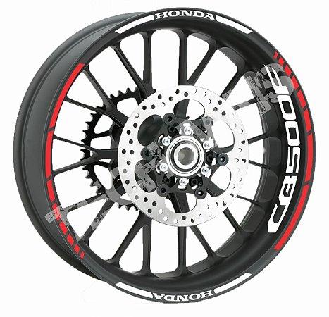 Adesivo de roda Friso de Roda Refletivo Honda CB500F Abstrato Borda