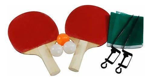 Kit Ping Pong 2 Raquetes 3 Bolinhas Com Rede