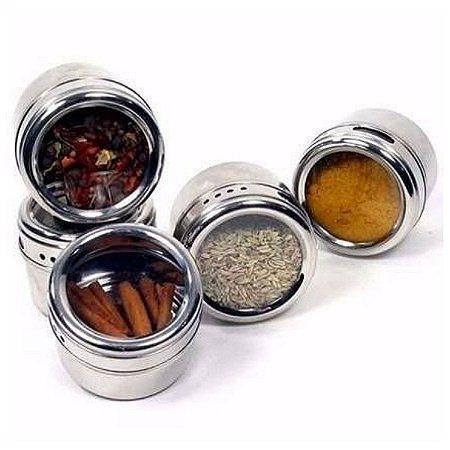 Porta Temperos E Condimentos Magnético Em Inox Com 6 Peças