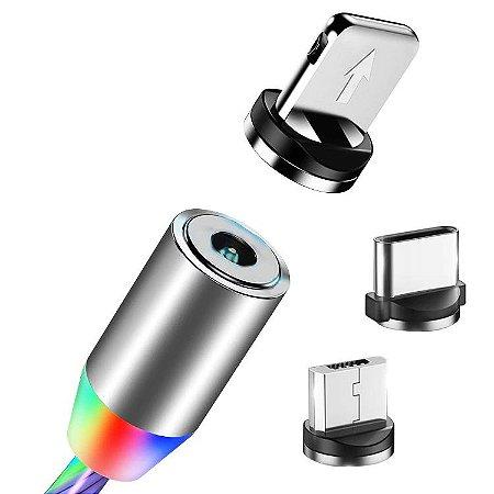 Cabo Magnético Luminoso Led 3 em 1 Carregador USB +Tipo C + iPhone