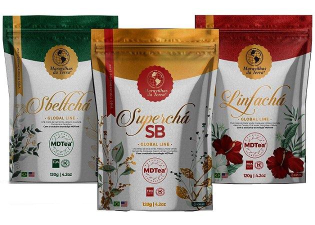 Promoção Super Chá Sb+linfachá +sbeltchá-kit Emagrecedor Mtdea