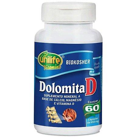 Dolomita D Cálcio Magnésio Vit D 950mg 60 Cáps - Unilife
