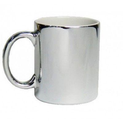 Caneca cromada 325ml personalizada prata