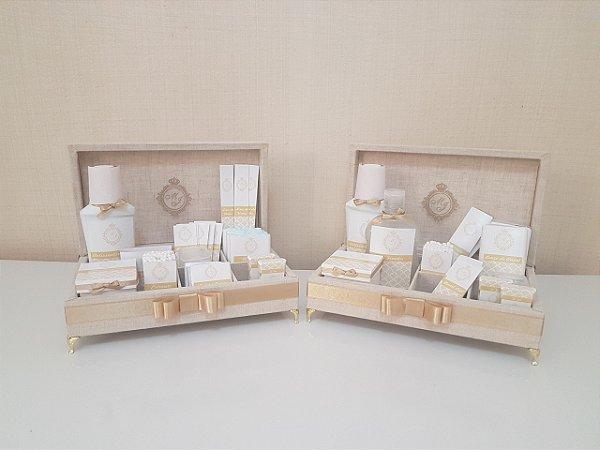 2 Kits Toalete Linho - Feminino E Masculino c/ pés - Completo!