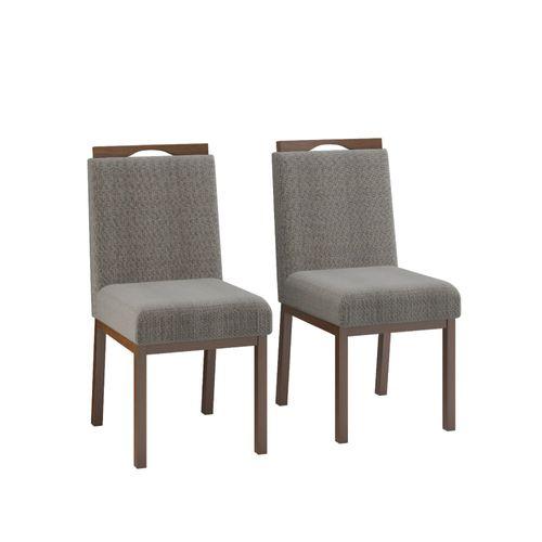 Conjunto 2 Cadeiras Sofia Estofada - Castanho/Cinza Escuro