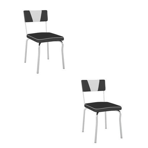 Kit com 2 Cadeiras Retrô com Assento Vinil - Branco/Cromado