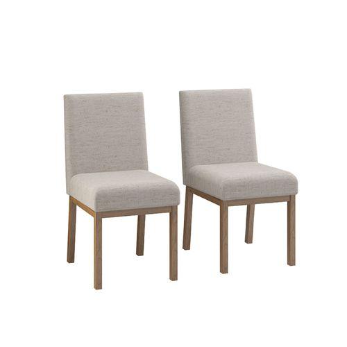Conjunto 2 Cadeiras Sofia Estofada Lona - Nogueira/Cinza