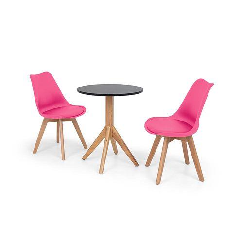 Conjunto Mesa de Jantar Maitê 60cm Preta com 2 Cadeiras Eames Wood Leda - Rosa