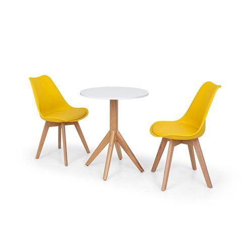Conjunto Mesa de Jantar Maitê 60cm Branca com 2 Cadeiras Eames Wood Leda - Amarela