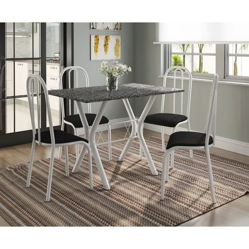 Conjunto de Mesa Miami com 4 Cadeiras Madri Branco com Preto Liso