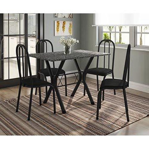 Conjunto de Mesa Miami com 4 Cadeiras Madri Preto Fosco com Preto Liso