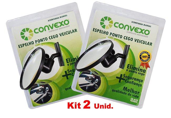 Kit - 2 Unid. Espelho CONVEXO Ponto Cego Veiculo Passeio e Utilitário.