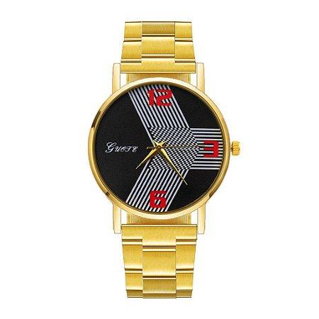 Relógios de luxo Aço Inoxidável de Cristal de Quartzo Analógico Dourado