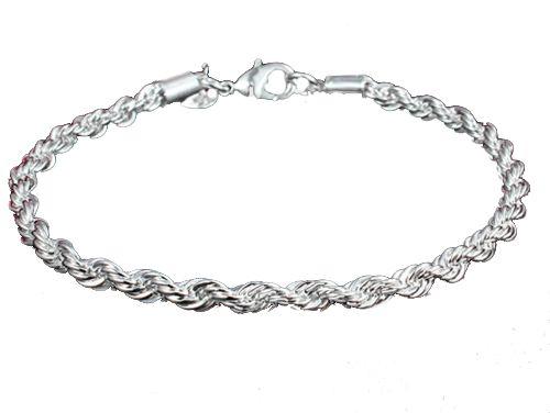 Pulseira Charme de cordas Torcidas Bracelets Cor Prata