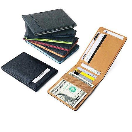 Carteira Unissex em Couro para Cartão e Dinheiro multi cartão 7 cores