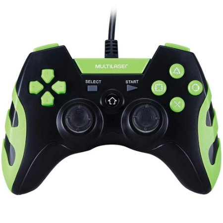 CONTROLE GAMER PS3/PS2/PC PRETO/VERDE MULTILASER JS081