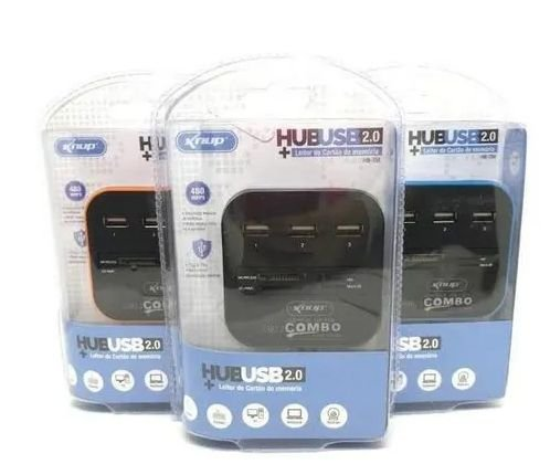 HUB USB2.0 KNUP + LEITOR DE CARTAO DE MEMORIA HB-T58