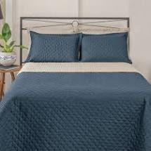 Cobre leito dupla face mosaico solteiro azul petroleo e bege
