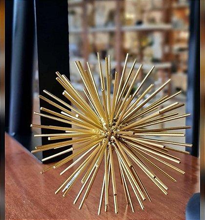 Ouriço decorativo dourado