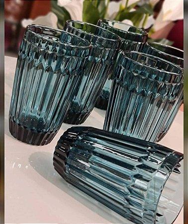 Jogo 06 copos azul vintage