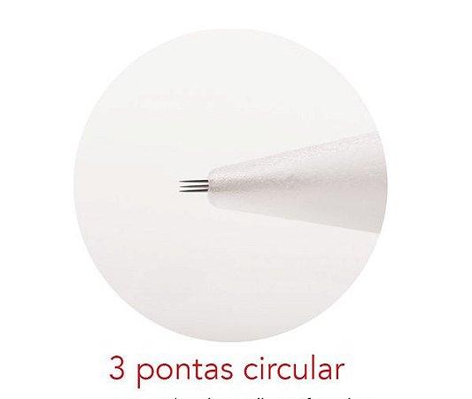 Agulha 3 pontas circular - Mag Estética com 10 unidades