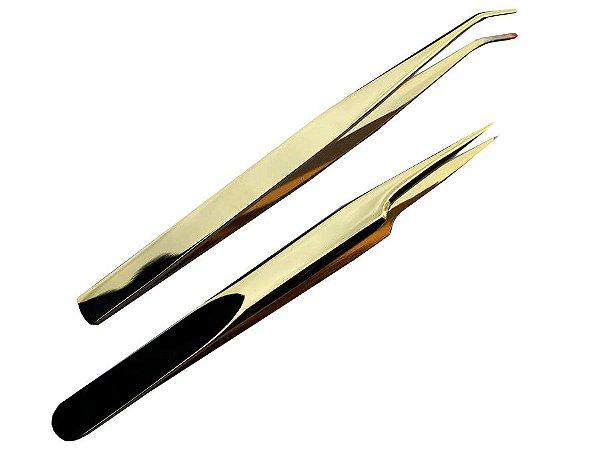 Par de Pinças para Alongamento de Cílios 12cm - Dourada