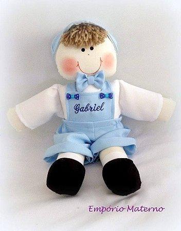 Boneco de pano artesanal personalizado azul claro