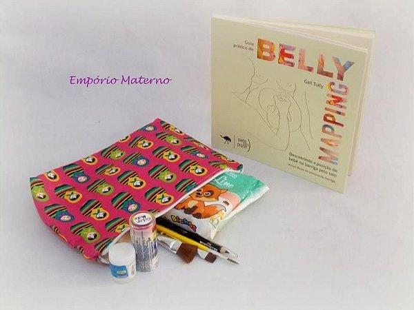 Livro Belly Mapping + Kit para pintura de barriga  - matrioskas com fundo rosa