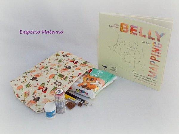 Livro Belly Mapping + Kit para pintura de barriga  - chapeuzinho vermelho