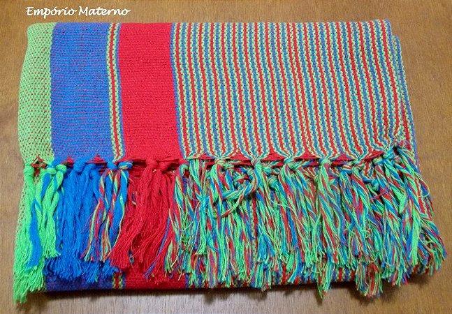 Rebozo Nacional - Multicor Vermelho, azul e verde