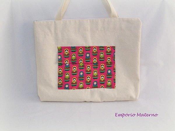 Bolsa de lona personalizada - matrioskas fundo rosa