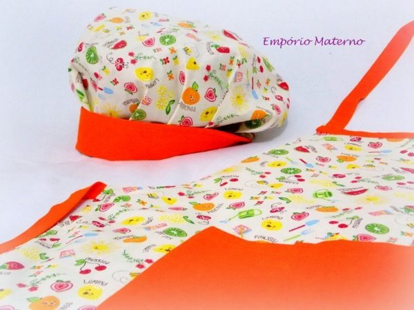 kit Avental e Touca - Frutinhas com laranja