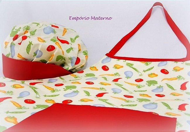 kit Avental e Touca - Legumes fundo bege com vermelho