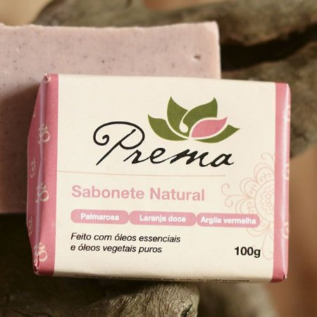 Sabonete Palmarosa, Laranja Doce e Argila Vermelha Prema 100g