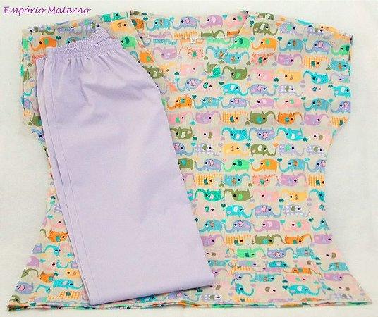Pijama Cirúrgico - Elefantes 01- Manga Japonesa SEM BORDADO - Confecção 7 dias úteis