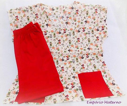 Pijama Cirúrgico - Chapeuzinho vermelho 01 - Manga Japonesa SEM BORDADO - Confecção 7 dias úteis